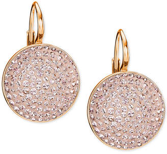 Swarovski Rose Gold-Tone Pink Glitter Drop Earrings $79 thestylecure.com