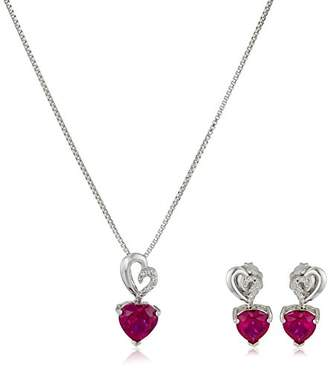 Sterling Silver Created Ruby and Diamond Heart Earrings and Pendant Necklace Set