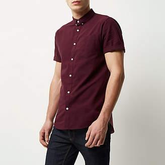 River Island Burgundy short sleeve Oxford shirt