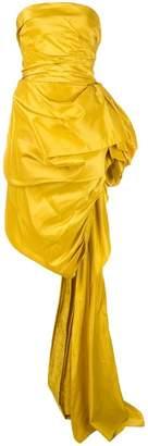 Oscar de la Renta asymmetric gathered side gown