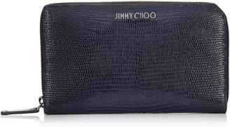 Jimmy Choo CARNABY Navy Lizard Print Leather Travel Wallet