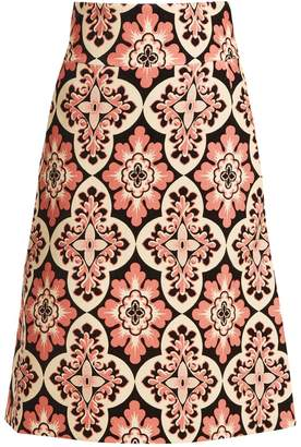 LA DOUBLEJ EDITIONS Tile-print A-line cotton-velvet skirt