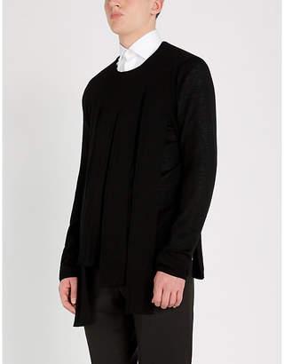 Tubular overlay wool jumper