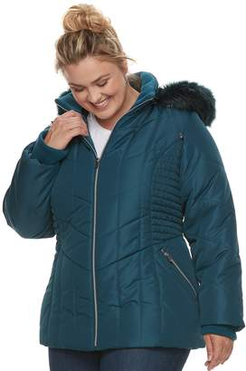 Details Plus Size Hooded Quilted Puffer Jacket
