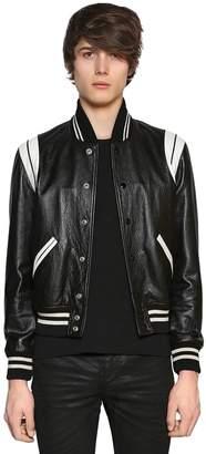 Saint Laurent White Details Soft Leather Teddy Jacket