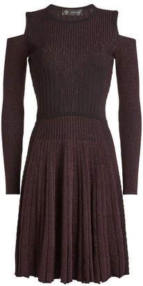 Versace Wool Cold-Shoulder Dress with Metallic Thread