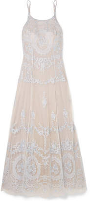 I.D. Sarrieri Célestine Embroidered Tulle Nightdress - Silver