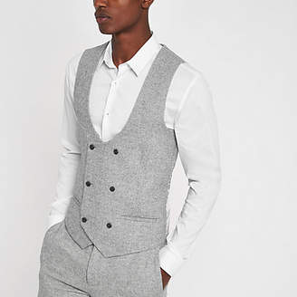 River Island Grey herringbone double-breasted vest