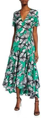 Alexis Deanna Floral-Print Short-Sleeve Wrap Dress