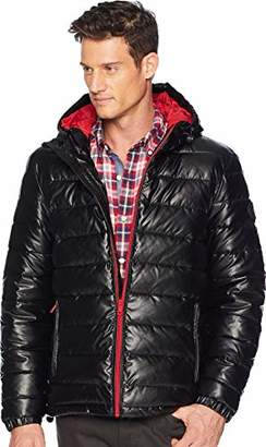 Cole Haan Men's Hooded Faux Leather Jacket
