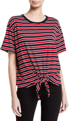 Velvet Scarla Striped Tie-Front Short-Sleeve Tee