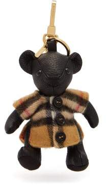 Burberry Thomas Bear Leather And Cashmere Key Ring - Womens - Brown Multi