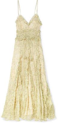 Lee Mathews - Nina Ruffled Silk-crepon Maxi Dress - Pastel yellow