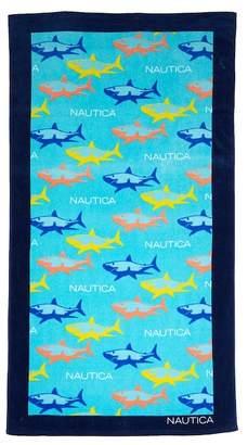 """Nautica Shark Attack Aqua Beach Towel - 35\""""x66\"""""""
