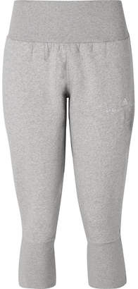 adidas by Stella McCartney Essentials Cropped Organic Cotton-blend Track Pants - Light gray