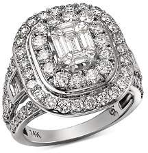 Bloomingdale's Diamond Mosaic & Double Halo Ring in 14K White Gold, 3.0 ct. t.w. - 100% Exclusive