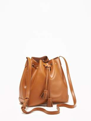 Faux-Leather Drawstring Bucket Bag for Women $34.94 thestylecure.com