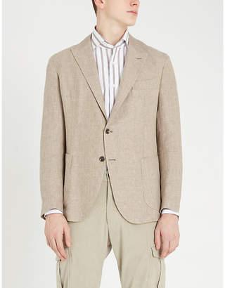 Eleventy Peak-lapel regular-fit linen, wool and silk-blend blazer