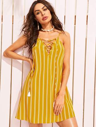 Shein Tasseled Lace Up Front Striped Cami Dress