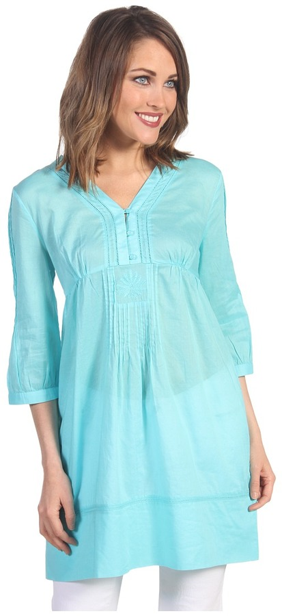 Lilly Pulitzer Alfa Tunic Top (Shorely Blue Party Hopper) - Apparel