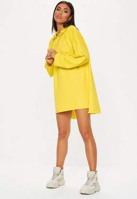 Missguided Yellow Oversized Hooded Jersey Dress