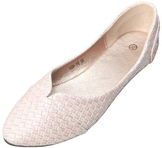 b5af246e0cb fereshte Women s Comfort Faux Leather Pointed Toe Flat Pump Ballet Shoes US  Size 9.5