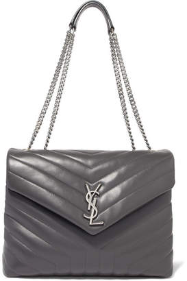 Saint Laurent Loulou Medium Quilted Leather Shoulder Bag - Gray