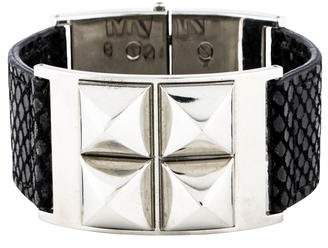 Pre Owned At Therealreal Michael Kors Embossed Leather Stud Bracelet
