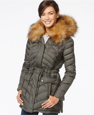Laundry by Shelli Segal Faux-Fur-Collar Puffer Down Coat $275 thestylecure.com
