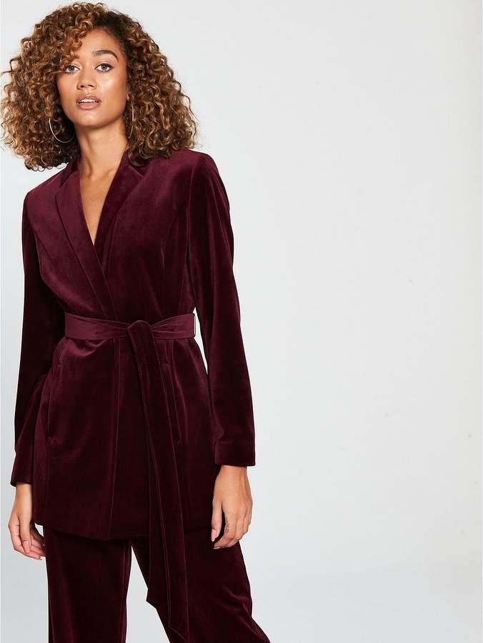 Belted Velvet Suit Jacket - Burgundy
