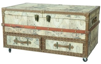 Vintiquewise Old World Map Print Coffee End Table and Wine Bar Trunk with Sliding Top and Drawers