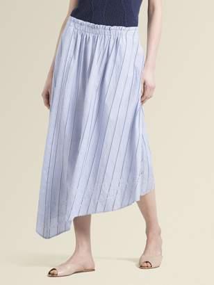 DKNY Eyelet Striped Midi Skirt