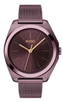 HUGO Mesh bracelet watch with aubergine case
