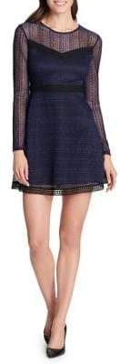 GUESS Long-Sleeve Lace A-Line Dress
