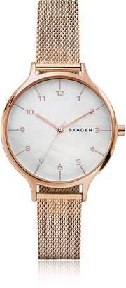 Skagen Anita Mother of Pearl Rose-Tone Steel-Mesh Watch