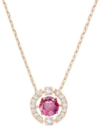 Swarovski Sparkling Dance Red & White Crystal Rose Gold Plated Necklace 5279421