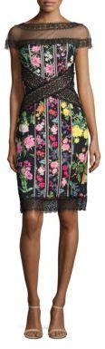 Tadashi Shoji Sheer Floral Sheath Dress $368 thestylecure.com
