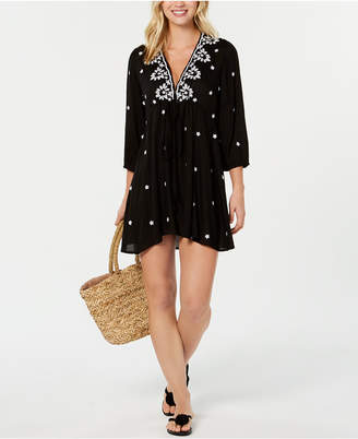 a4b7fe62b Raviya Embroidered 3/4-Sleeve Dress Cover-Up Women Swimsuit