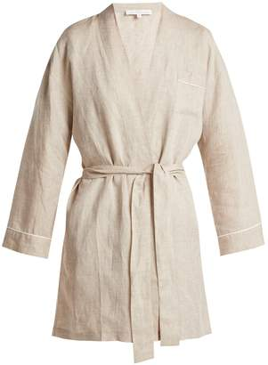 POUR LES FEMMES Piped linen robe