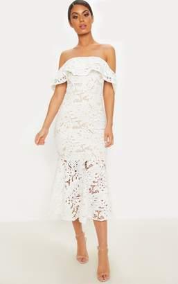 PrettyLittleThing White Crochet Lace Bardot Fishtail Midi Dress