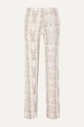 LESET - Sophia Snake-print Ribbed Stretch-modal Slim-leg Pants - Gray