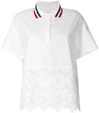 Moncler lace hem polo top