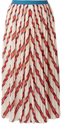 By Malene Birger Alvilamma Pleated Striped Chiffon Midi Skirt - Ecru