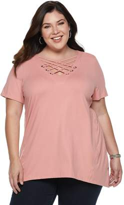75d41ff358b ... Laundry by Shelli Segal Plus Size French Crisscross Grommet Top