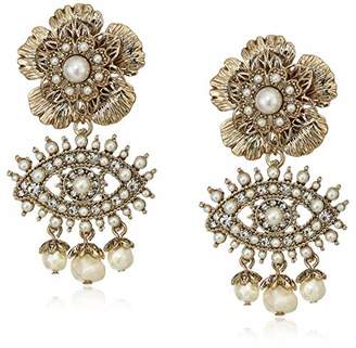 Marchesa Women's White Large Eye Drop Earrings