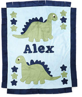 Boogie Baby Personalized Dino the Dinosaur Plush Blanket, Blue/Green