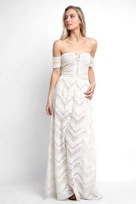Sky Off Shoulder Crochet Lace Maxi Dress