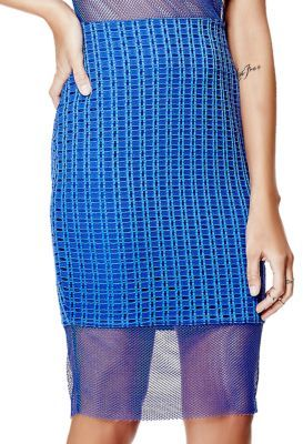 Guess Mesh Hem Pencil Skirt