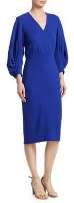 Lela Rose Wool Puff-Sleeve Sheath Dress