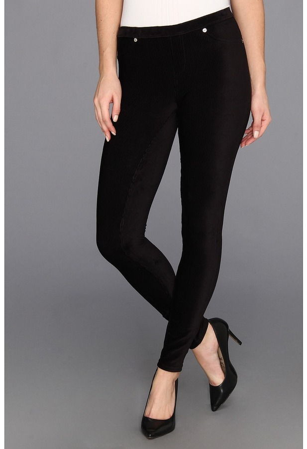 MICHAEL Michael Kors Petite Straight Cord Leggings (Black/Silver) - Apparel